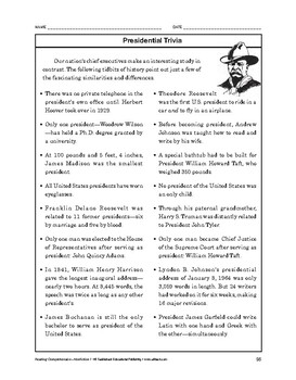 Reading Comprehension Nonfiction: Presidential Trivia