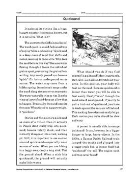 Reading Comprehension Nonfiction: Quicksand