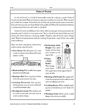 Reading Comprehension Nonfiction: Rules of Thumb