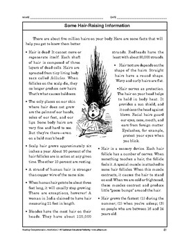 Reading Comprehension Nonfiction: Some Hair-Raising Information