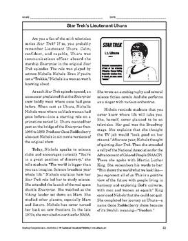 Reading Comprehension Nonfiction: Star Trek's Lieutenant Uhura