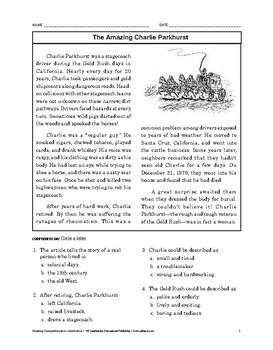 Reading Comprehension Nonfiction: The Amazing Charlie Parkhurst