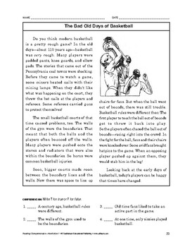 Reading Comprehension Nonfiction: The Bad Old Days of Basketball