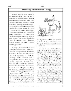 Reading Comprehension Nonfiction: The Healing Power of Horse Therapy