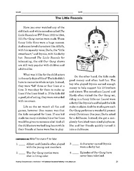 Reading Comprehension Nonfiction: The Little Rascals