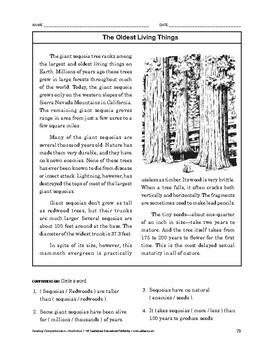 Reading Comprehension Nonfiction: The Oldest Living Things