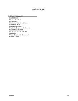 Reading Comprehension Nonfiction: The Platypus