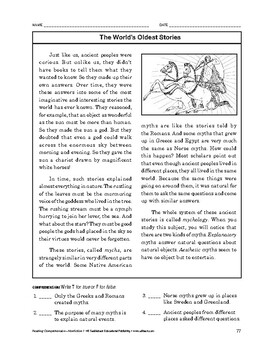 Reading Comprehension Nonfiction: The World's Oldest Stories
