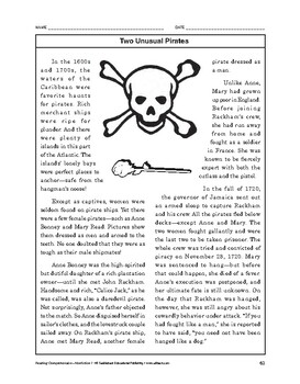 Reading Comprehension Nonfiction: Two Unusual Pirates