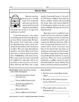 Reading Comprehension Nonfiction: Warrior Bees