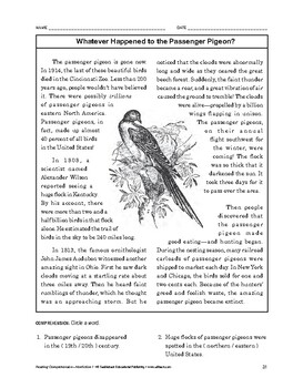 Reading Comprehension Nonfiction: Whatever Happened to the Passenger Pigeon?