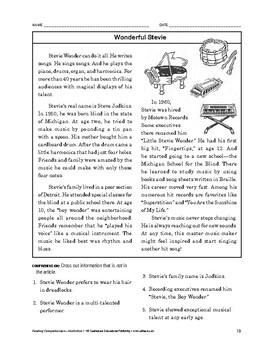 Reading Comprehension Nonfiction: Wonderful Stevie