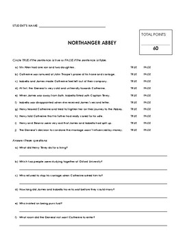 Reading Comprehension - Northanger Abbey