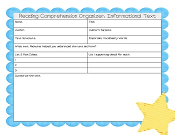 Reading Comprehension Organizers