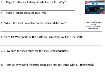 Reading Comprehension- Oxford Reading Tree Level 4 Shells