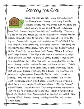 "Reading Comprehension Pack ""Sammy the Snail"""