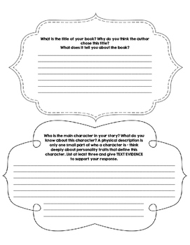 Reading Comprehension Packet for Independent Reading