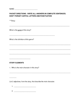 Reading Comprehension Packet for Non-Fiction stories