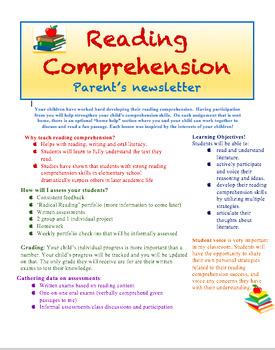 Reading Comprehension Parent Newsletter