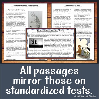 Printable Reading Comprehension Part A Part B & Writing Test Task Cards-Bundle 1