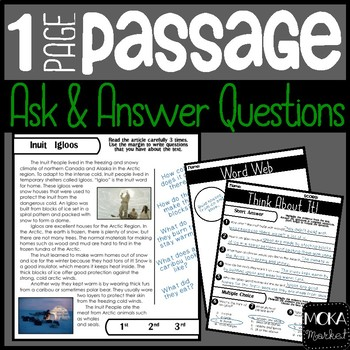 Inuit Igloos | Comprehension Passage | Ask and Answer Questions