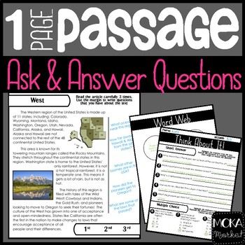 Comprehension Passage Ask and Answer Questions (West)