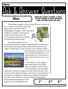 Western Region   Comprehension Passage   Ask and Answer Questions
