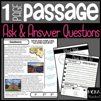 Southwest Region | Comprehension Passage | Ask and Answer Questions