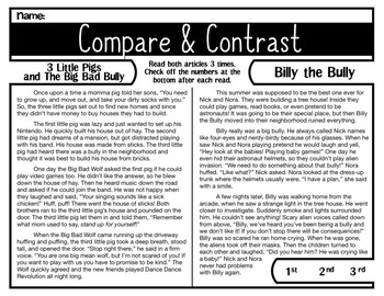 Fiction Bullies | Comprehension Passage | Compare and Contrast