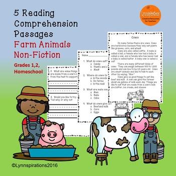 Farm Animals Reading Comprehension Passages Grades 1-2 Non-fiction ESL Activity