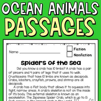 Reading Comprehension Passages Ocean Creatures Themed for Third Graders