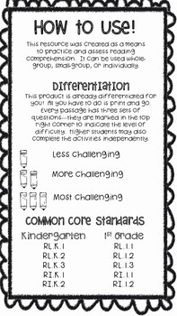 Reading Comprehension Passage & Question Set (Differentiated!)
