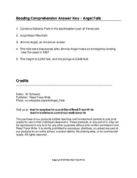 Reading Comprehension Passage and Questions Angel Falls (Grades 2-4)
