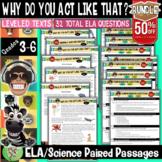 Reading Comprehension Passage and Questions Bundle (Animal Behavior) Gr 3-6