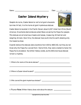 Reading Comprehension Passage and Questions Easter Island Mystery (Grades 2-4)