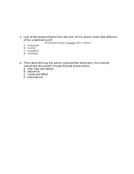 Reading Comprehension Passage and Questions FSA ELA Style
