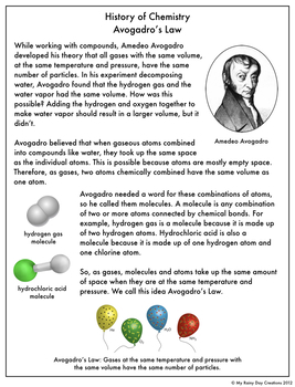 Reading Comprehension Passage and Questions: History of Chemistry Avogadro's Law