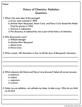 Reading Comprehension Passage and Questions: History of Chemistry Radiation