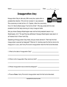 Reading Comprehension Passage and Questions Inauguration Day (Grades 2-3)
