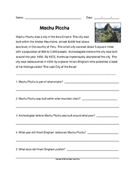 Reading Comprehension Passage and Questions Machu Picchu (Grades 2-4)