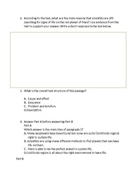 Reading Comprehension Passage and Questions Non Fiction Great ELA FSA Practice
