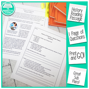 Reading Comprehension Passage and Questions: History of Chemistry Ancient Greece