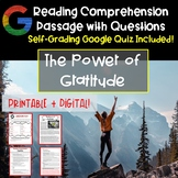 Reading Comprehension Passage and Questions: Thanksgiving Reading on Gratitude