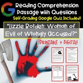 Reading Comprehension Passage with Questions: Lizzie Borden | Real Scary Stories