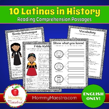 Reading Comprehension Passages: 10 Latinas in History (vol 2)
