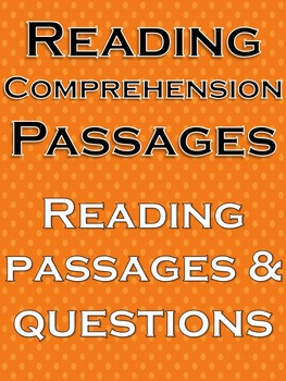 Reading Comprehension Passages Reading comprehension questions