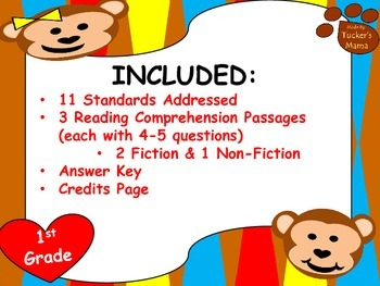 Reading Comprehension Passages - 1st Grade (3 Passages)