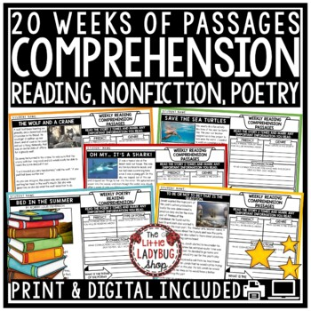At Home Learning Reading Comprehension Passages & Questions 3rd Grade 4th Grade