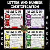 Letter Identification Worksheets and Number Identification Worksheets