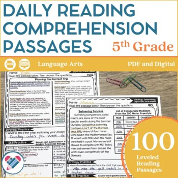 Reading Comprehension Passages 5TH GRADE DISTANCE LEARNING